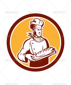 Baker Holding Bread Woodcut Retro