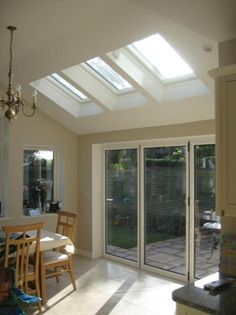 single storey extension with rooflight Bungalow Extensions, House Extensions, Kitchen Extensions, Open Plan Kitchen Dining, Open Plan Living, Conservatory Interiors, Conservatory Ideas, House Extension Design, Extension Ideas