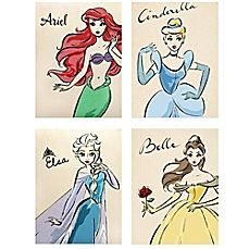 Disney Princess Wall Decor giant size wallpaper mural for girl's bedroom. disney princesses
