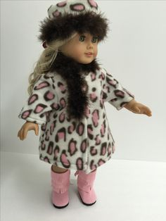 Caroline's coat and pillbox hat are a pink cheetah print fleece trimmed with a chocolate truffle boa. Pink Cheetah, Cheetah Print, Chloe's Closet, Pillbox Hat, Pill Boxes, Chocolate Truffles, Doll Clothes, Harajuku, Fur Coat