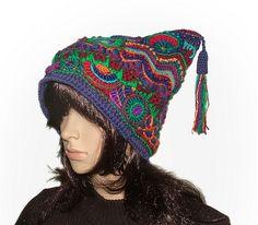 Freeform Crochet Jester Hat Beanie - 3 by renatekirkpatrick, via Flickr