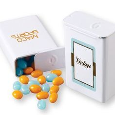 Customized Retro Slider Tin With Gourmet Jelly Beans In Logo Colors