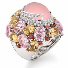 Brumani sissi couture collection  18K white gold with round diamonds and morganite        Brumani candy savana  18K white gold with bro...