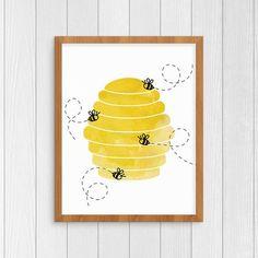 Bee Hive 8x10 Art Print, Honey bees buzzing art, Winnie the Pooh nursery room decor, watercolor art print