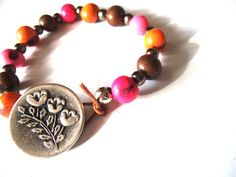 Pink Peach & Brown Beaded Bracelet with by TerriJeansAdornments