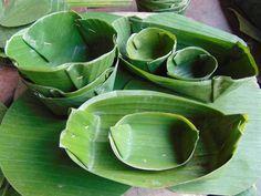 Platos a base de hoja de plátano. Banana Leaf Plates, Banana Leaves, Leaf Bowls, Wedding Mood Board, Flower Garlands, Food Presentation, Fresh Flowers, Food Storage, Food Art