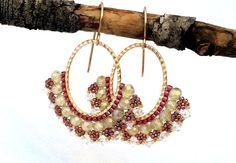 Hoop Earrings / Beaded Hoop Earrings / Swarovski Earrings / Beaded Jewelery by Ranitit on Etsy