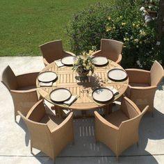 Royal Teak 5' Round Drop Leaf Outdoor Patio Teak Table Grade A Teak