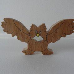 Puzzle en bois chouette ou hibou 4 morceaux - puzzle tenant debout pour décoration