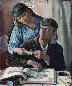François Barraud –  Double portrait | Le philathéliste, 1929, Huile sur toile, 47 x 40 cm