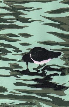Lino cut - oyster-catcher on Sandymount Beach by John Hibbert