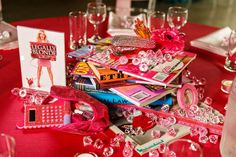 Legally Blonde/Broadway musical themed wedding centerpiece.
