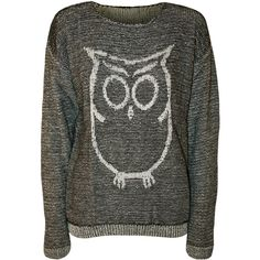 Celeste Owl Knitted Jumper ($24) ❤ liked on Polyvore featuring tops, sweaters, long sleeves, grey, long sleeve sweaters, grey jumper, scoop neck sweater, oversized grey sweater and grey sweater