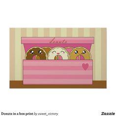 Donuts in a box print