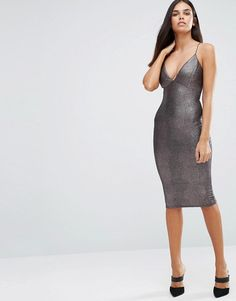 AX Paris Metallic Midi Cami Dress