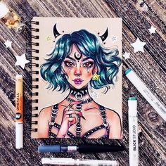 """1,170 curtidas, 36 comentários - @chamandahy no Instagram: """"✨This is my last post for 2017, finally. This year means a lot to me. Drawing everyday, posting a…"""" Sketchbook Drawings, Art Sketches, Beautiful Drawings, Cool Drawings, Pretty Art, Cute Art, Desenhos Halloween, Arte Emo, Marker Art"""