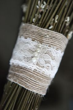love the lace wrap around the bouquets  #Lace; #Wedding; #Bouquet; #Beading; #Flowers; #Details