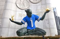 'Spirit of Detroit' statue gets playoff ready with giant Lions jersey | MLive.com