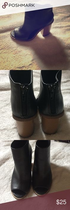 Black heeled open toed booties Black heeled open toed booties with openings on the side and zipper in Forever 21 Shoes Heeled Boots