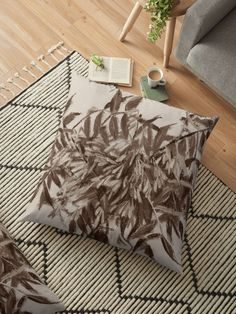 """""""Ash-tree, monochrome version, floral sketch"""" Floor Pillows by clipsocallipso 