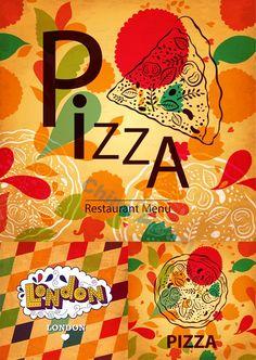 Pizza menu design vector vintage