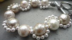 Bracelet Freshwater Pearls Swarovski elements Handmade by LOVEitAllBoutique on Etsy