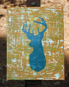 Teal and Orange Deer Head Silhouette Painting on Distressed Canvas Deer Head Silhouette, Silhouette Painting, Pallet Barn, Barn Wood, Teal Orange, Bedroom Art, Craft Gifts, Wooden Signs, Artsy Fartsy