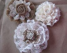 Burlap Lace Wedding Flower Cake Topper Shabby Decoration Country Rustic Victorian Centerpiece Decor