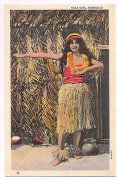Your place to buy and sell all things handmade Hawaiian Girls, Vintage Vignettes, Hula Girl, Vintage Hawaii, Travel Scrapbook, Girl Poses, Vintage Postcards, My Ebay, Etsy Store