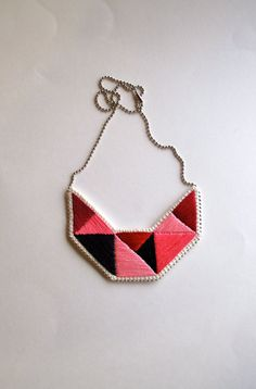 Small embroidered geometric bib necklace in by AnAstridEndeavor