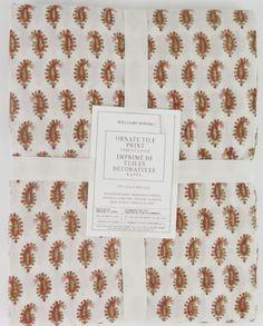 NEW Williams Sonoma Ornate Tile Print Tablecloth Rust Cream Cotton 70 X 126 NWT…
