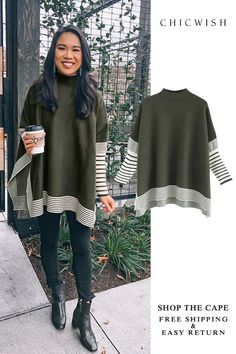 Free Shipping & Easy Return. Up to 30% Off. Lie in Olive Fields Striped Oversize Knit Cape Sweater featured by hkcung. #womenfashion #clothing #fashion #outfit
