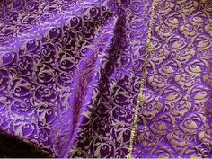 <3 Purple and Gold Brocade Fabric, Like Royalty Touched by Greek Magic !!