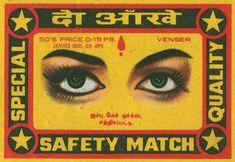 ¡Ardiente ilustración! | Vintage Indian Matchbox Label.