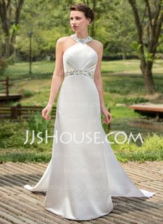 A-Line/Princess Halter Watteau Train Satin Wedding Dress With Ruffle Beadwork Sequins (002001180) - JJsHouse