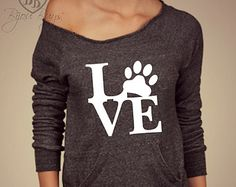 Animal Love -- Love with Paw print design on Wide neck fleece sweatshirt. Sizes S-XL.  Other colors available.