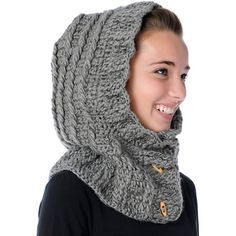 The 2012 women's Spacecraft Eve beanie is a two-in-one knit hooded scarf and thick knitted beanie. The Spacefcraft Eve beanie has a relaxed fit and button front collar with brown toggle wood buttons.Shop beanies like this and tons more including new styles, colors, and brands. Click to see all beanies.