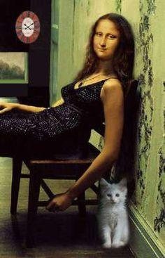 Mona Lisa With Kitteh Lisa Gherardini, Mona Friends, La Madone, Mona Lisa Parody, Mona Lisa Smile, Art Jokes, Frida Art, Italian Artist, Cultura Pop