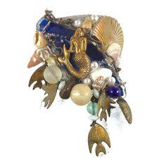 Mermaid Cuff Bracelet  Big Vintage Assemblage  by InVintageHeaven, $68.00