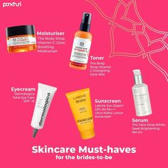 Beauty and skincare routine can be anything between 1 to 15 steps, depending on how invested you are in yours. Here we've rounded up 5 skincare essentials for girls who get very little time to actually spend on rigorous skincare routine - Because brides deserve the best!  #skincareroutine #skincareproducts #brides #bridesmaids #makeup #makeupartist #makeupartistsindia  #bridalmakeupandhair #bridetobe #bridetobe2020 #virtualwedding #weddinggoals #bridegoals #makeuplooks #pankhuribride… Face Mist, Dermalogica, Wedding Goals, Moisturiser, Skincare Routine, The Body Shop, Sunscreen, Serum, Lotion