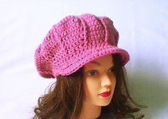 Women newsboy hat, newsboy beanie, newsboy knit cap, crochet newsgirl hat, crochet hat with brim, pale rose - pinned by pin4etsy.com