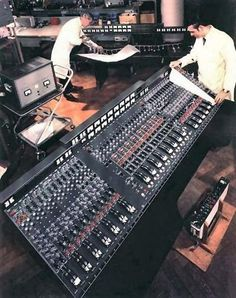 The first transistorized recording console used by EMI Studios, called the TG Music Studio Room, Audio Studio, Recording Studio Design, Sound Studio, Music Production Equipment, Recording Equipment, Studio Equipment, Studio Gear, Sound Room