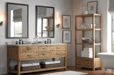 love the wood cabinets and mirrors for bathroom
