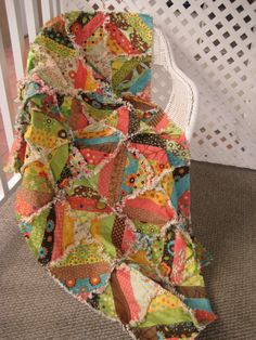 Rag Quilt Lap Quilt Throw  Scrappy Patchwork in by PeppersAttic, $139.00