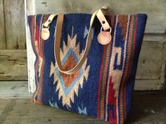 Wool Kilim Leather Tote Handbag Satchel by JansVintageStuff
