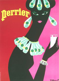 Perrier Earrings 1977 - Bernard Villemot, one of the great French post war poster designers, captures a multi colored world in his posters