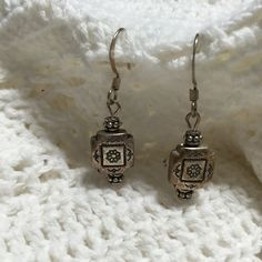 Vintage Sterling Silver Drop Earrings, 1980s Silver Metal Dangle Earring, Square Metal Beaded Hippie Earrings  - T42 by ReTHINKinIt on Etsy