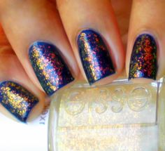 Essie Shine of The Times - clear flakie with golden highlights. Hidden Treasure dupe..