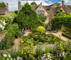 The gardens of the beautiful little medieval town of Burford, Oxfordshire, England