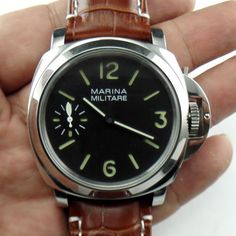 New-44MM-Marina-Militare-hand-winding-mechanical-LUMINOR-Unitas-6497-brown